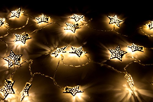 Decoline LED Metall Lichterkette Sterne 20 LED Silber