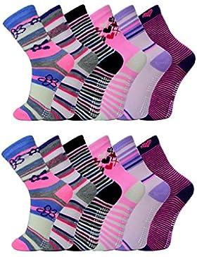 12 Paar ABS Socken Mädchen Anti Rutsch Strümpfe Kids Mix Gr. 24 - 39