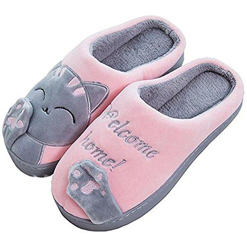 Mujer Invierno Casa Zapatillas,Interior algodón calzado Zapatos Indoor Home Cartoon Cat Slippers