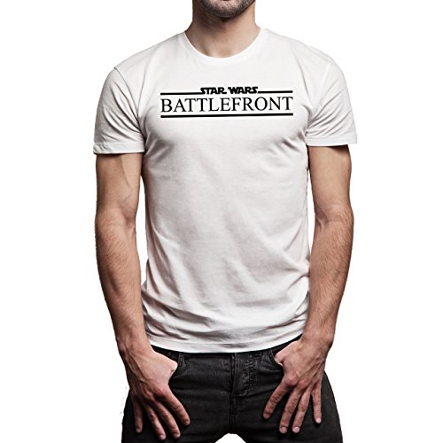Star Wars Battlefront Jedai Yedi Game Logo Black And White Herren T-Shirt Weiß
