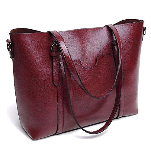 DIYNP Damen Handtaschen Schultertasche große Tote Shopper Taschen Henkeltasche Vintage Umhängetasche Schulterbeutel (Rotwein)