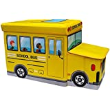Baybee Premium Quality School Bus Collapsible Toy Storage Organizer | Toy Box Folding Storage Ottoman For Kids Bedroom | Perfect Size Toy Chest For Books, Kids Toys, Baby Toys, Baby Clothes ( Assorted Color Red,Blue,Yellow )