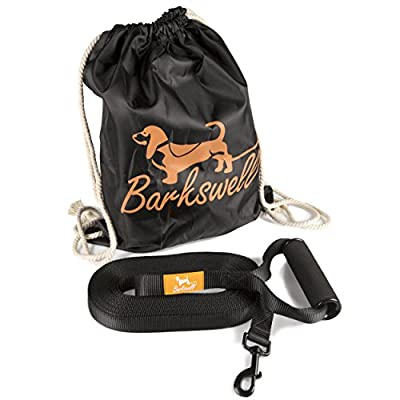 Dog Training Lead for Dogs and Puppies - 30 Foot Long with Padded Foam Barrel Handle - Free Carry Bag - Made from Strong Nylon - 1 Inch Wide by Barkswell