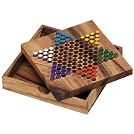 Logica Giochi art. DAMA CINESE in legno Teak – Gioco da Tavolo Classico – Gioco in Legno Naturale – Versione Portatile