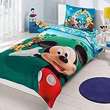 Juego de 2diseño Original Disney Mickey Mouse 100% algodón colcha–Juego de funda de edredón para cama, juego de cama 3piezas