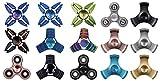 Deluxe Hand Fidget Spinner Metall Finger Spielzeug für Kinder und Erwachsene (Blau mit Tasche)