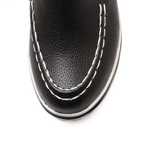 AllhqFashion Femme Tire Rond à Talon Haut Pu Cuir Couleur Unie Chaussures Légeres Noir