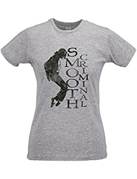 LaMAGLIERIA Camiseta Mujer Slim Michael Jackson Smooth Criminal - T-Shirt 100% Algodòn Ring Spun