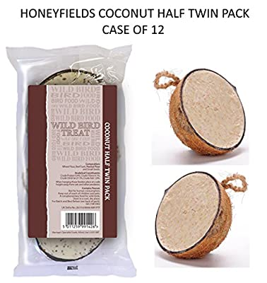 *new* Master Case Of 12 Twin Pack Coconut Halves Wild Bird Food Treat = 24 X Coconut Half by HONEYFIELDS