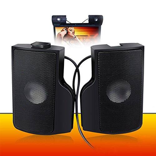 Computer Lautsprecher, PC Lautsprecher WeGood Mini Lautsprecher Stereo Lautsprecher mit Subwoofer für PC Asus / Acer / Samsung / Dell / Toshiba / HP Multimedia Speaker Schwarz Plug and Play
