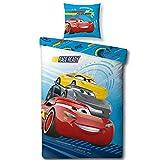 CARS Jungen Kinderbettwäsche · Disney Pixar Cars 3 · RACE READY Auto Motiv  in blau, rot · 2 teilig · Kissenbezug 80x80 + Bettbezug 135x200 cm - 100 % Baumwolle