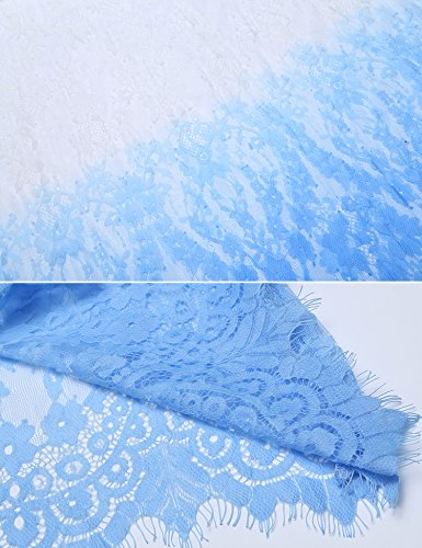 Nilover Women's Maternity Long Dress Transparent Floral Lace Raw Edge Deep V Photography Dress White Blue