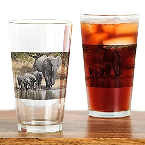 CafePress - Elephant Mom And Babies - Pint Glass, 16 oz. Drinking Glass
