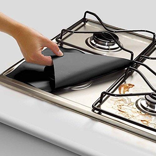 leoboone Praktische Gasherd Öl Schutz Liner Wiederverwendbare Herd sauber Mat Pad Ofen Oberflächenschutz Pads Heimgebrauch, schwarz -