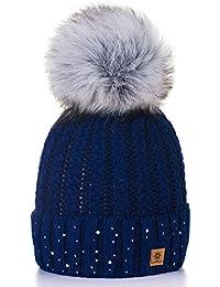 Damen Wurm Winter Style Beanie Strickmütze Mütze mit Fellbommel Bommelmütze Hat Ski Snowboard Pelz Bommel Pompon Kreis Kleine Kristalle Crystals 4sold