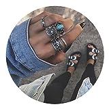 AMDXD 5 Stücks Midi Ring Damen Türkis Elefant Totem Vintage Silber Ringe Set Boho
