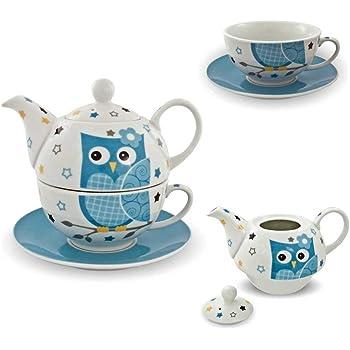 porzellan tee set tea for one teeservice eule blau wei teekanne tasse untersetzer. Black Bedroom Furniture Sets. Home Design Ideas