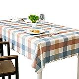 Mantel de tela escocesa Easy Care, cubierta de mesa a cuadros de poliéster suave, manteles de encaje lavables, mesa de comedor de mesa decorativa, blanco, marrón y azul ( Tamaño : Square 140x140cm )