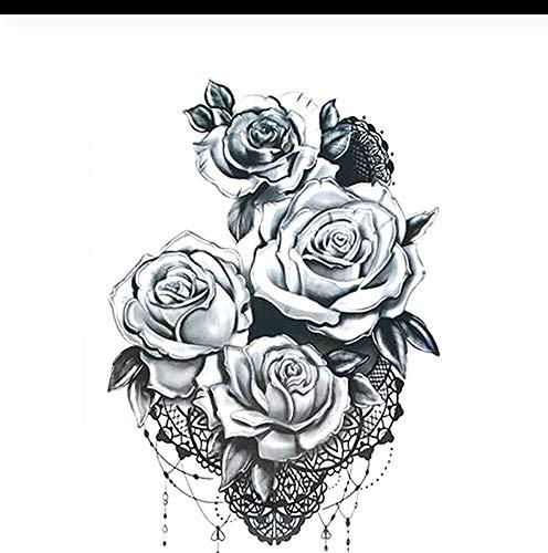 Lfvguiop autoadesivo del tatuaggio temporaneo rose nere design full flower braccio body art grande grande adesivo tatuaggio falso