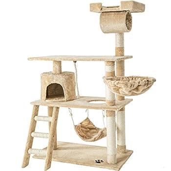 TecTake Arbre á chat géant grattoir griffoir et centre d'activités 141cm - diverses couleurs au choix - (Beige | No. 401854)