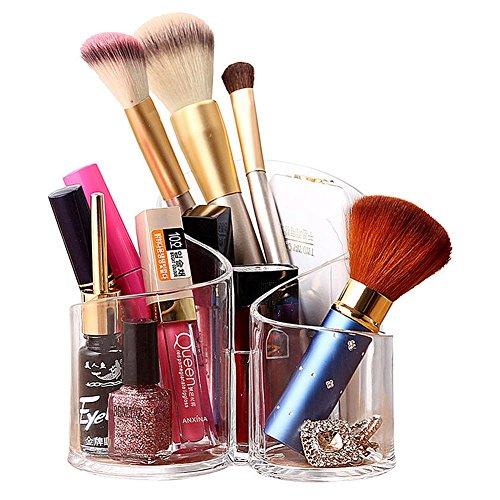 k Organizer - 3 Fächer Makeup Pinselhalter Becher Acryl Kosmetik Aufbewahrung Kosmetikpinsel Behälter,Klar Pinsel Baumwolle Ball & Swab Halterung ()