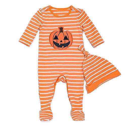 Bom Bom Baby Mädchen Jungen Halloween Kürbis Footies Schlafstrampler ()