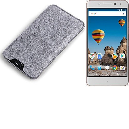 K-S-Trade Filz Schutz Hülle für General Mobile GM 5 Plus Schutzhülle Filztasche Filz Tasche Case Sleeve Handyhülle Filzhülle grau