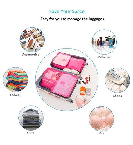Leichte 6 Stück Packungswürfel System, FashionUp Travel Storage Packing Organizer Wäschebeutel Kompressionstaschen für Gepäck (Hellblau) Rosa