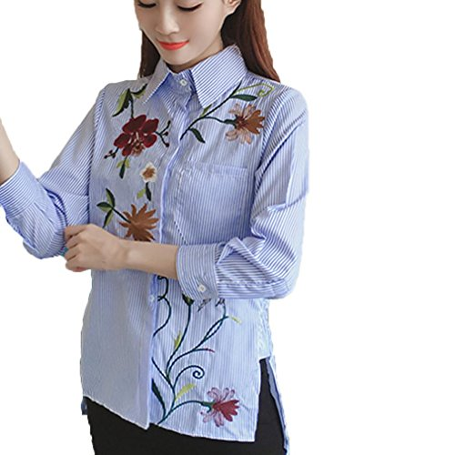Frau Lange Hülse Gestickt Blumen Baumwolle Hemd_Hirolan (Blau, M) (Herren Burnout Tee)