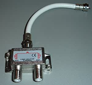 2 Way Satellite LNB Frequency - 2.4Ghz Splitter with Patch Lead by electrosmart® - Please see product details for suitability