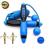 Springseile Speed Rope Profi Digital Schnurlos Springseil drahtlose Speed Rope mit Digital LCD Zähler Kalorienzähler für Outdoor und Indoor Sport Training Fitnessübungen (Schwarz&Blau)