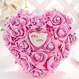 Yosoo 20x18cm Romantic Rose Hochzeit Ringkissen Ring Box Herz Bevorzugungen Ehering Kissen mit eleganter Satin Flora (1 Rosa)