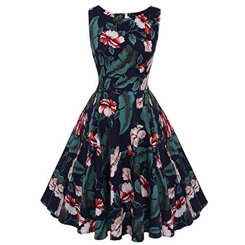 Frauenkleid 50er Jahre Boatneck ärmelloses Vintage Tee Kleid Cocktail Maxi Kleid Sommer mit Gürtel Damen (Farbe : Black+Green, Size : XXL) Boatneck Rock