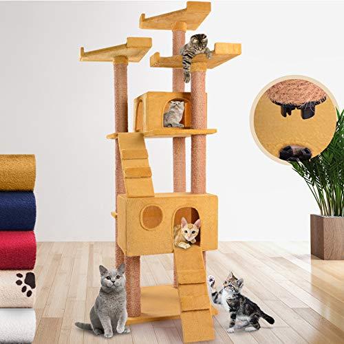 Leopet Kratzbaum zum Spielen, Schlafen und Relaxen | 171,4 cm hoch, mit Zwei Höhlen und 3 Plattformen, Farbwahl | Katzenbaum, Katzenkratzbaum, Kletterbaum (Gold)