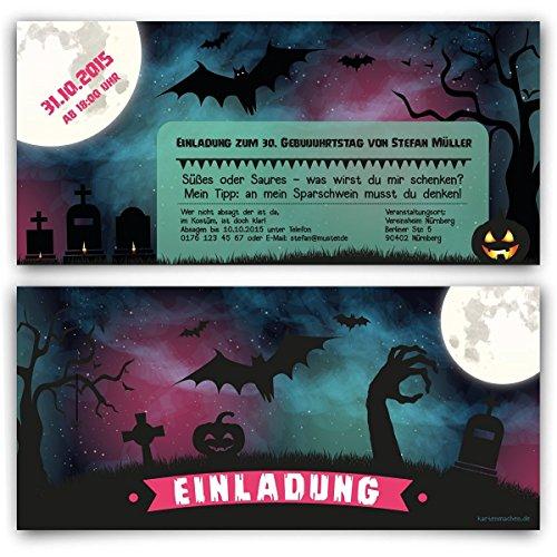 rtstag (20 Stück) im Halloween Motiv 31. Oktober Einladungskarten (Halloween-party-einladung Text)