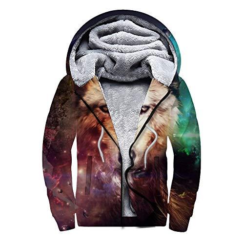 DIY Plus suéter de Terciopelo Plus Sudadera de Terciopelo con Cremallera Lobo Saliendo con un suéter Adecuado para Regalo en el hogar para el suéter de un Amigo-BKWE 6, L