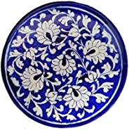 SHIV KRIPA BLUE ART POTTERY Decorative Wall Hanging Hand Painted Ceramic Plate 17 X 17 X 3 cm (Blue and White)