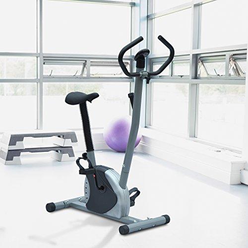 HOMCOM - Cyclette Professionale per Allenamento Fitness Aerobico in Acciaio 92 x 44 x 113cm Nero-argento