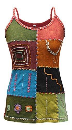 5d4316d70 Multicolores Style Hippie Festival Femmes Hauts/Gilet,Coton Pur T-shirt,  Boho, Cool, Mix orange, Small