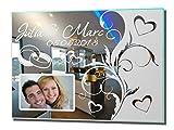 Fotospiegel Wedding 1 Motivspiegel mit Gravur + Foto Bilderrahmen Hochzeit Ehe Trauung Geschenk (30x40cm)