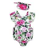 Bebé recién nacido de una sola pieza Jumpsuit Rompers Jumpsuit Outfits ropa sin mangas Backless con patrones de flores impresas con Linda diadema para 12-18 meses,L