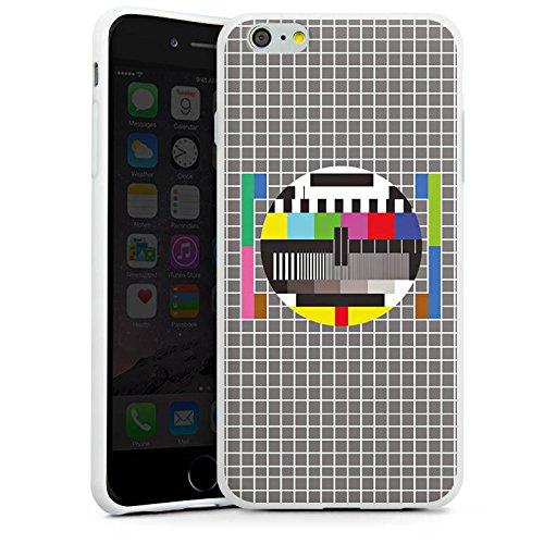 Apple iPhone X Silikon Hülle Case Schutzhülle Fernsehbild Störung Testscreen Silikon Case weiß