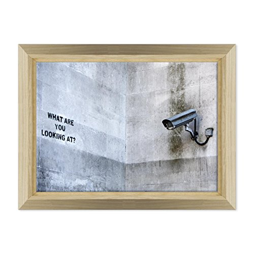 Bild auf Leinwand Canvas-Gerahmt-fertig zum Aufhängen-Banksy-Kunst Street Art-- Dimensione: 50x70cm E - Colore Legno Naturale Design