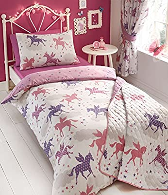 Girls Divine Unicorns Reversible Duvet Cover Collection By Kids Club