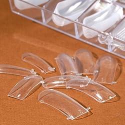 100pcs Clear Dual Nail System Form UV Gel Acrylic Nail Mold Artificial Nail Tip + Box