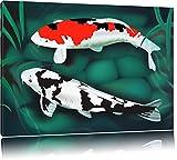 Edle Koi Karpfen Kunst Format: 100x70 auf Leinwand, XXL riesige Bilder fertig gerahmt mit Keilrahmen, Kunstdruck auf Wandbild mit Rahmen, günstiger als Gemälde oder Ölbild, kein Poster oder Plakat