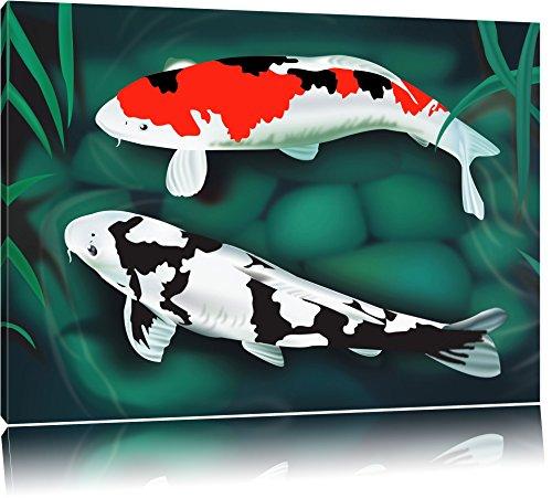 Edle Koi Karpfen Kunst Format: 100x70 auf Leinwand, XXL riesige Bilder fertig gerahmt mit Keilrahmen, Kunstdruck auf Wandbild mit Rahmen, günstiger als Gemälde oder Ölbild, kein Poster oder Plakat (Koi Glücklich)