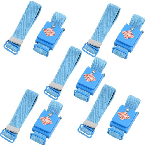 Sourcingmap Lot de 5 Bleu Anti décharge statique sans fil poignet Sangle Bande