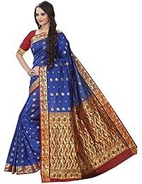 Craftsvilla Women's Silk Blend Zari Work Designer Blue Saree With Blouse Piece