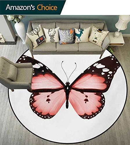 RUGSMAT Teppich, Ring-Design, rutschfest, 3D-Design, Tropfenmotiv, für Wohnzimmer, Schlafzimmer, Schreibtisch/Stuhl, rund, Blau/Weiß, Polyester-Mischgewebe, Style-09, Diameter-24 -